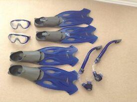 Flippers, mask & snorkel sets (39/40 & 41/42)