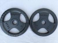 2 x 20kg Bodymax Tri-Grip Olympic Cast Iron Weights