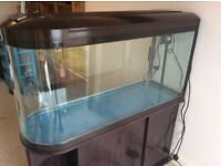 Bulletin shaped 400 late fish tank for sale in excellent condition with accessories