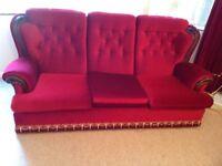 3+1+1 sofa set red wine colour