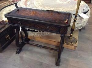 Reverse Painted Glass Top Parlour Table with Lyre Harp Legs