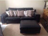 Large black leather suite, excellent comdition