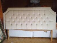 Ivory chenille button back headboard - Kingsize