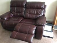 Brown leather reclining 3 piece suite