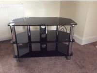 TV Stand - Black and Chrome