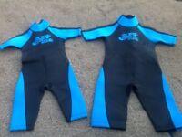 2 Childrens neoprene rash suits
