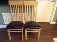 2 Oak Dining Chairs