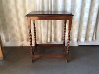 VINTAGE MAHOGANY BARLEY TWIST WINDOW TABLE / HALL TABLE / PLANTER STAND / SIDE TABLE