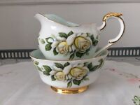 Paragon Harry Wheatcroft Six World Famous Roses. Pascali. Milk Jug & Sugar Bowl.