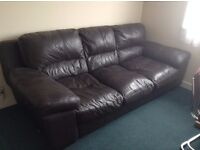 DFS Brown Leather 3 seater sofa