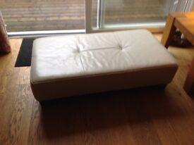 Cream vinyl Footstool