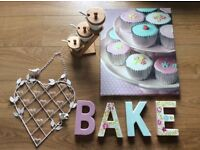 Kitchen accessories, picture, ceramic bake letters, letter rack, spice jars