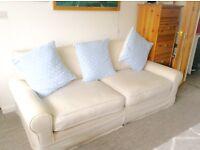 Large Cream Linen Sofa