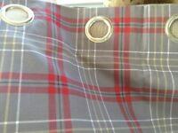 Pair Next Red/Grey Check Eyelet Curtains