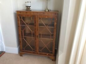 Yew reproduction display cabinet/ bookcase