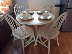 Shabby chic hand painted cream upcycled round table and 4 chairs.