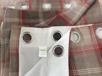 Beautiful red and beige check Dunelm Mill Curtains