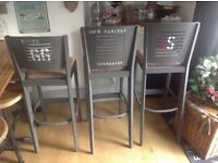 Bar Stools American Diner Man Cave Retro x4 Industrial