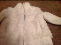 Girls white fur fleece jacket