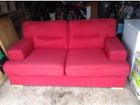 Bed settee, double bed, red colour from DFS.