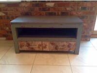 Solid Wood Distressed Dark Grey Coffee Table / TV Unit