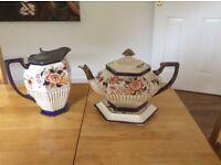 1840-1900 IMARI TEA POT AND STAND ALSO A HOT WATER JUG