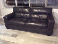 Brown leather sofa in a 2 and 3 seater. These sofas are in excellent condition. Pet and smoke free.