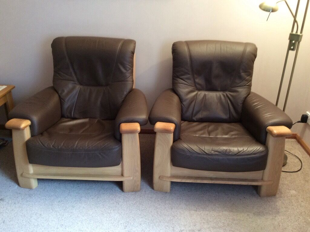 Armchairs (2) for salein Forfar, AngusGumtree - Two Montana high back armchairs, with natural oak frames and brown leather cushions. Genuine reason for sale low comfy chair not ideal for bad back/hips. Same style currently in Gilles for £829 per chair. Buyer to collect from Forfar. For sale &...