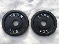 12 x 1.25kg York v2 Standard Cast Iron Weights