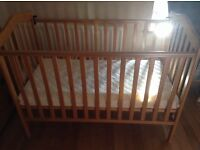 Pine cot with drop down side