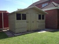 12x8 reverse apex garden shed, loglap t&g FREE delivery & fitting West Midlands