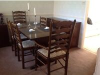 Six seater dining table and 4 chairs and 2 carver chairs