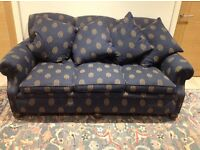 Edwardian, antique sofa, blue, professionally reupholstered ten years ago, slightly faded 184cm wide