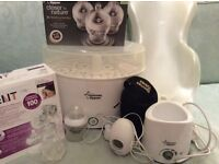 Tommee Tippee Steriliser, Electric bottle warmer, Breastpump, Bottles, Baby Bath and Bath support