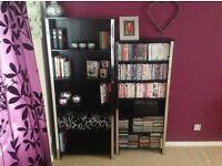 Black bookcase shelving unit and cd DVD storage unit