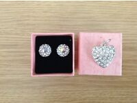 Round Imitation Diamond Stud Earrings and Heart Shaped Pendant