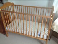 Baby Cot, Mattress, Play Gym. Luxury playmat, 2 fitted sheets & more