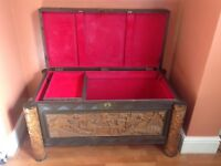 Chinese style carved wooden chest with glass top