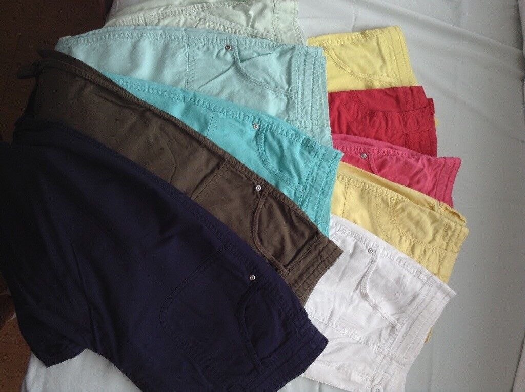 Womens size 12 crop trousers, various colours
