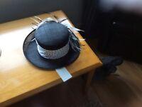 Black and white wedding hat BNWT