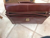 Leather briefcase, Antler, brown