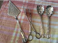 Silver Plated 4 Piece Serving Set in Cake Server and Cake a Tongs.