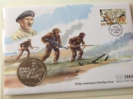 Isle of Man Coin and Stamp 1st Day Cover. 1994. Commemorating the 50th Anniversary of D-Day.