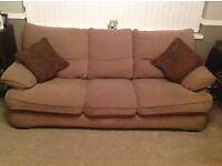 Brown Fabric 3 Seater Sofa plus a Single Chair