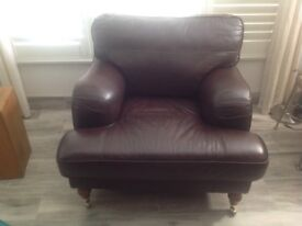Chair chocolate leather oak colour caster front feet Benwick