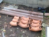 3 Clay Drainage Pipes with elbows and plastic fittings