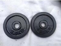 2 x 2.5kg Black Standard Cast Iron Weights