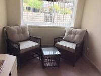 Grey large rattan/wicker patio garden conservatory armchairs &table set
