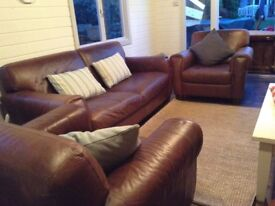 Leather Settee and two chairs