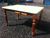 Solid pine scullery dining table with cutlery drawers at either side